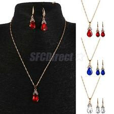 Gold Plated Jewelry Set Teardrop Crystal Pendant Chain Dangle Necklace Earrings