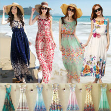 Sexy Women Summer Boho Long Maxi Floral Dress Evening Party Beach Chiffon Dress