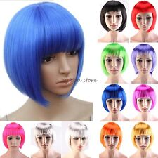 100% Hot Sale Short BOB Full Head Wig Cosplay Costume Party Fancy Dress Blue C53