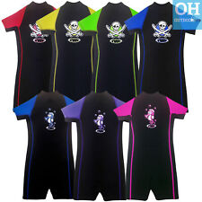 TWF 2mm Kids Shortie Wetsuit Childs Shorty Boys Girls Pirate Seahorse Wet Suit