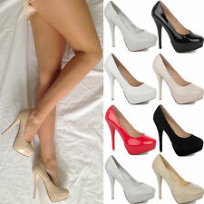 WOMENS LADIES HIGH HEEL CONCEALED STILETTO COURT CHUNKY PLATFORM SHOES SIZE