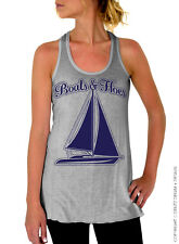 Boats and Hoes - Gray Flowy Racerback Tank Top with Navy Blue Ink