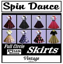 50s 60s PLUS SIZE Vintage Style Rockabilly Rock n Roll Circle Skirt & Scarf New