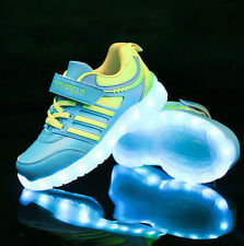 Boys Girls LED Light up USB Charger Velcro Sneakers Kids high Shoes Gift A-7