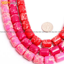 """Sea Sediment Stone Beads For Jewelry Making 15"""" Natural Stone Dyed Color Barrel"""