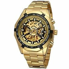 FORSINING Luxury Men Gold Automatic Mechanical Stainless Steel Wrist Watch Dress