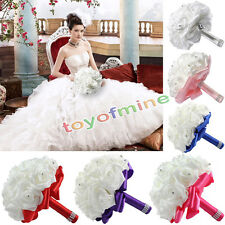 Foam Artificial Rose Flower Wedding Bride Bridal Bouquet Posy Ribbon Party Decor