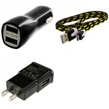 Wall & Car Charger Adapter 3FT USB Charging Data Cable for Phones