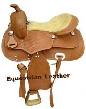 "Western Leather saddle 15"",16"" & 17"" Natural Colour with tooling"