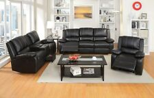 2pc Sofa Loveseat w/Speaker Console Transitional Look Bonded Leather Black Set