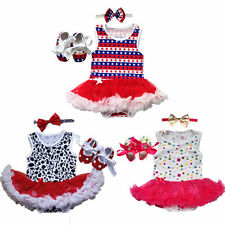 Baby Infant Clothes Girls Party Dress Tutu Outfits Newborn Romper+Headband+Shoes
