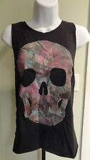 "New Loungefly Junior's ""Watercolor Skull"" Black Raw Edge Tank Top - Sizes S - L"