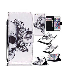 Flip Faux Leather Skull Head  Case Cover for iPhone For Samsung Adorable