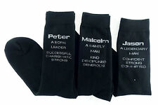 Socks Mens Men Personalised (A to S) Pair of Cotton | Name | Gift Black Novelty