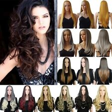 Long Curly Straight 3/4 Full Head Wig Clip In HairCosplay Fancy Dress No Fring