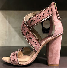 ZARA LASER-CUT LEATHER HIGH HEEL SANDALS MAUVE 36-41  Ref.1531/101
