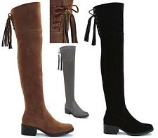 New Womens Black Faux Suede Leather Zip Sexy Over The Knee Thigh High Heel Boots