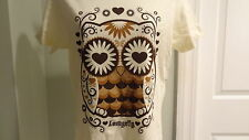 "New Loungefly Juniors ""Owl Heart & Eyes"" Ivory Tee : Sizes S, M & L"