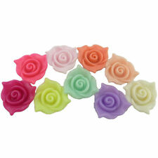 15pcs 21mm Acrylic Plastic Flat Flower Spacer Beads Loose Jewelry Findings Craft