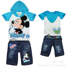 New Boys Mickey Mouse summer out-fit set Hooded Top+ Jean short size 2.3.4.5.6,7