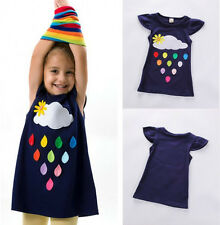 Kids Baby Girls Cute Print Casual Summer Sun Dress Skater Dress Clothes Age 2-7Y