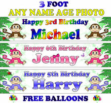 2 PERSONALISED BIRTHDAY PARTY BANNERS NAME PHOTOS AGE monkey blue pink kids F2