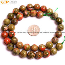 """Natural Gemstone Unakite Stone Beads For Jewelry Making 15"""" Faceted Loose Beads"""