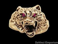14k Yellow Gold Wolf Ring with Gemstone Eyes
