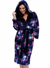 Ladies Lady Olga Soft Coral Fleece Floral Print Hooded Dressing Gown Robe Wrap