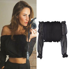 Women Ladies Shirred Bardot Chiffon Off Shoulder Frill Gypsy Blouse Crop Top