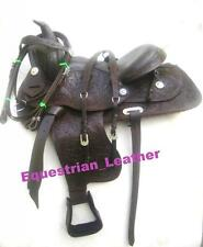 """New Western Leather saddle 15"""",16"""" & 17"""" Brown Colour with fully hand carved"""
