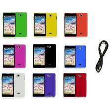 For LG Spirit 4G MS870 Color Hard Snap-On Rubberized Case Cover+6FT Aux