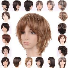 Brown Blonde Short Wigs Synthetic Hair Full Head Costume Wig Ombre Two Tone Mix