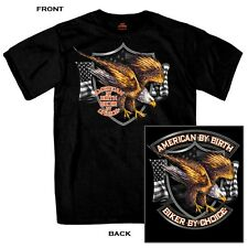 American By Birth Biker By Choice SHORT SLEEVE T-Shirt Motorcycle Chopper BLACK