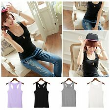 Women Sports Fitness Sleeveless Camisole Cotton Vest Solid Color Tank Top Shirt