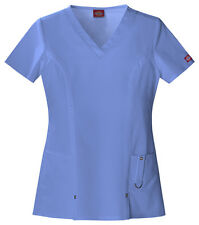 Scrubs Dickies Xtreme Stretch V- Neck Top 82851 Ceil Blue    FREE SHIPPING