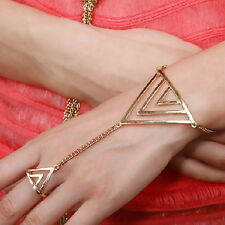 New Fashion Punk Silver Tone Hollow Out Triangle Ring Link Chain Bracelet