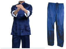 chinese men's kung-fu tai-chi Clothes blue jacket coat Pants suit size M-XXXL