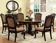 FORMAL BRADFORD 7PC BROWN CHERRY ROUND DINING TABLE SET w/ FABRIC WOOD LEATHER