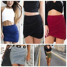 Women Cross Sexy Mini Skirt Dress Clubwear Girl Slim Casual High Waist Skirt Hot