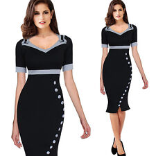 V-neck Bowknot Button Decoration Fishtail Women Pencil Dress Office Wear to Work