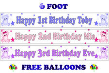2 PERSONALISED BIRTHDAY PARTY BANNERS NAME PHOTO AGE christening baby shower D1