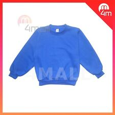 Boys Girls Kids Fleecy Fleece School Wear Uniform Jumper Sz Sweatshirt Blue