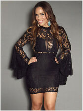 Fashion Horn Sleeve Womens Vestidos Flowers Lace Sexy Women Dress Club Wear