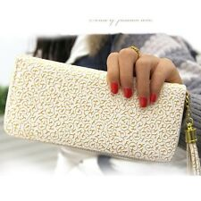 Women PU Long Zip Print Pattern Wallet Card Holder Case Clutch Trifold Checkbook
