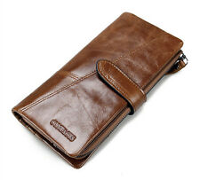 Real Leather Men's ID Card Coin Holder Purse Money Long Clutch Trifold Wallet