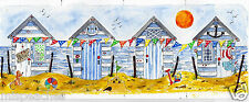 ORiGiNaL watercolour @print@ SuMMeRTiME BeACH HuTS seascape beach hut