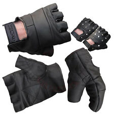 LEATHER FINGERLESS GLOVES WEIGHT TRAINING CYCLING DRIVING BIKERS WHEELCHAIR USE
