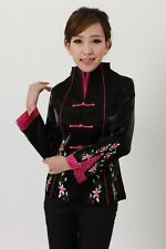 Charming Chinese Women's silk embroidery jacket /coat Black Sz:8 10 12 14 16 18