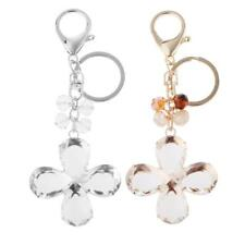 Delicate Lucky Rhinestone 4 Leaf Clover Charm Key Ring Keychain Split Ring Gift